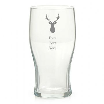 Personalised Engraved Stag Image Pint Glass